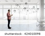 global wireless connection | Shutterstock . vector #424010098