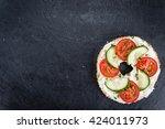 homemade cream cheese bagel ...   Shutterstock . vector #424011973