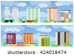 facades of buildings. two... | Shutterstock .eps vector #424018474
