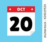 calendar icon flat october 20