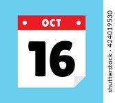 calendar icon flat october 16