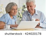 happy senior couple with laptop | Shutterstock . vector #424020178