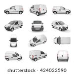 12 different views on pickup... | Shutterstock . vector #424022590