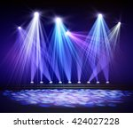 various stage lights in the... | Shutterstock .eps vector #424027228