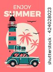 Enjoy Summer beautiful vector poster template with retro road trip car with suitcases luggage on top rack, lighthouse and sun with palm silhouettes. Retro style summer vacation banner. Road trip - stock vector