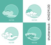vector set of four simple eco... | Shutterstock .eps vector #424029130