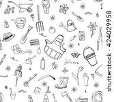 black and white seamless... | Shutterstock .eps vector #424029958