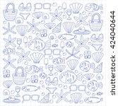 vector doodle pictures of beach ... | Shutterstock .eps vector #424040644