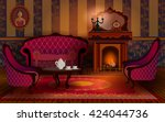 living room interior with...   Shutterstock .eps vector #424044736