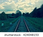 train track in vintage colors | Shutterstock . vector #424048153