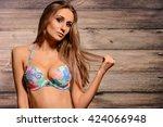 portrait of amazing brunette... | Shutterstock . vector #424066948