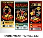 set of vintage lucha libre... | Shutterstock .eps vector #424068133