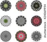 ethnic symbol indian mandala set | Shutterstock .eps vector #424069954