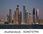 dubai skyscrapers. dubai marina ... | Shutterstock . vector #424073794