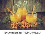 homemade sea buckthorn soft... | Shutterstock . vector #424079680
