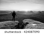 hiker with sporty backpack... | Shutterstock . vector #424087090