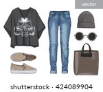 lady fashion set of autumn ... | Shutterstock .eps vector #424089904