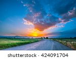magnificent landscape of road... | Shutterstock . vector #424091704