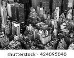 new york city manhattan aerial... | Shutterstock . vector #424095040
