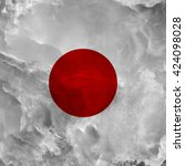 flag of japan. amazing stone... | Shutterstock . vector #424098028
