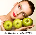 casual woman with an apple... | Shutterstock . vector #42411775