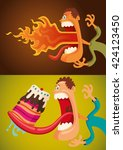funny guy in different comic... | Shutterstock .eps vector #424123450