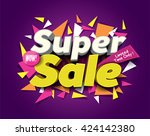 super sale concept vector... | Shutterstock .eps vector #424142380