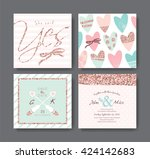 set of wedding invitation card... | Shutterstock .eps vector #424142683