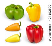 set realistic peppers | Shutterstock .eps vector #424162570