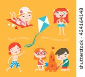 summer child's outdoor... | Shutterstock .eps vector #424164148