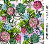 seamless pattern of succulent... | Shutterstock .eps vector #424164184