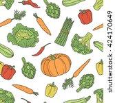 fresh vegetables hand drawn... | Shutterstock .eps vector #424170649