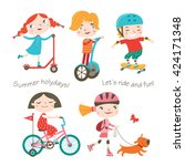 summer child's outdoor... | Shutterstock .eps vector #424171348