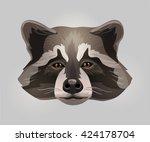 vector racoon face | Shutterstock .eps vector #424178704
