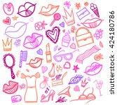 vector hand drawn set  women's... | Shutterstock .eps vector #424180786