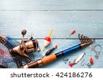 Fishing Tackle On Wooden Blue...