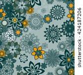 mandala pattern  floral... | Shutterstock .eps vector #424187206