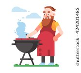 bbq party. kind man is cooking... | Shutterstock .eps vector #424201483