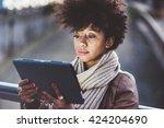 half length of beautiful black... | Shutterstock . vector #424204690