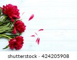 bouquet of red peony flowers on ...