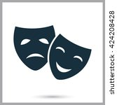 drama and comedy masks icon on...