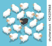 Isometric Black Sheep In The...