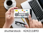 apps concept message on hand... | Shutterstock . vector #424211893