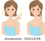 middle age woman  skin trouble  ... | Shutterstock . vector #424213198