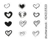 charcoal heart set on white... | Shutterstock .eps vector #424215523