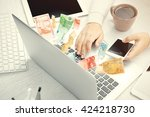 financial concept. make money...   Shutterstock . vector #424218730