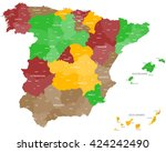 large and detailed map of spain | Shutterstock .eps vector #424242490