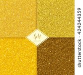 set of golden sparkles texture... | Shutterstock .eps vector #424244359