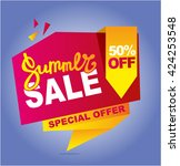 summer sale banner. vector... | Shutterstock .eps vector #424253548