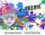 cute girl with goggles for...   Shutterstock .eps vector #424256026